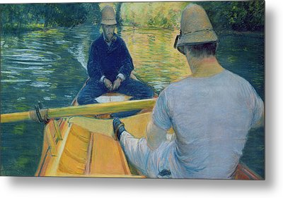 Boaters On The Yerres Metal Print by Gustave Caillebotte