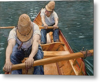 Boaters Rowing On The Yerres Metal Print by Gustave Caillebotte