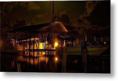 Boathouse Night Glow Metal Print by Michael Thomas