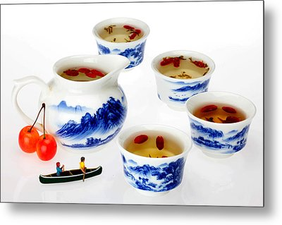 Boating Among China Tea Cups Little People On Food Metal Print by Paul Ge
