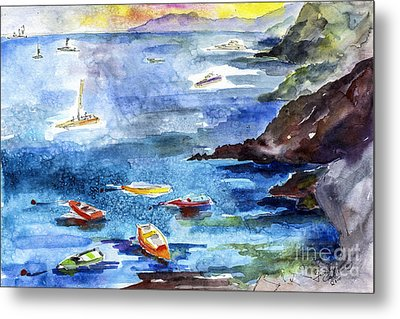 Boating In Italy Watercolor  Metal Print by Ginette Callaway