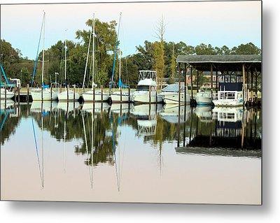 Boats And Reflections Metal Print by Carolyn Ricks