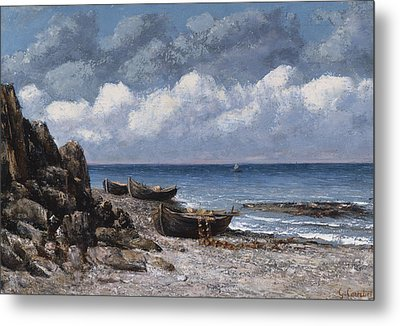 Boats At St Aubain Metal Print by Gustave Courbet