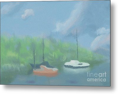 Boats In Cove Metal Print by Arlene Babad