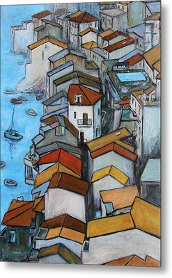 Boats In Front Of The Buildings Iv Metal Print by Xueling Zou