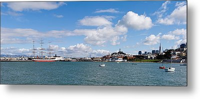 Boats In The Bay, Transamerica Pyramid Metal Print by Panoramic Images