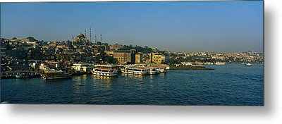 Boats Moored At A Harbor, Istanbul Metal Print by Panoramic Images