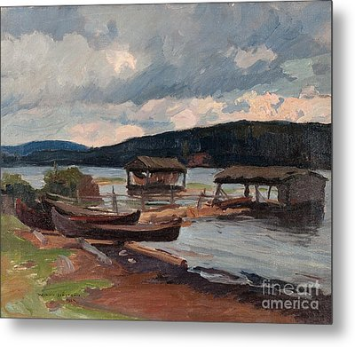 Boats On The Shore Metal Print by Celestial Images