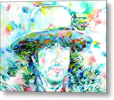Bob Dylan - Watercolor Portrait.2 Metal Print by Fabrizio Cassetta