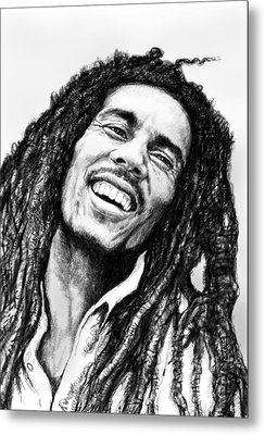 Bob Marley Art Drawing Sketch Portrait  Metal Print by Kim Wang