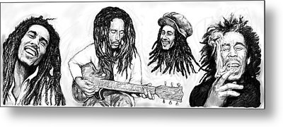 Bob Marley Art Drawing Sketch Poster Metal Print by Kim Wang