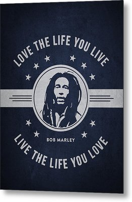 Bob Marley - Navy Blue Metal Print by Aged Pixel