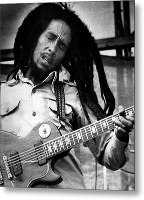 Bob Marley Playing Guitar Metal Print by Retro Images Archive