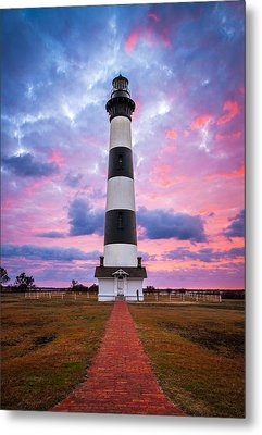 Bodie Island Lighthouse Sunrise Obx Outer Banks Nc - The Gatekeeper Metal Print by Dave Allen