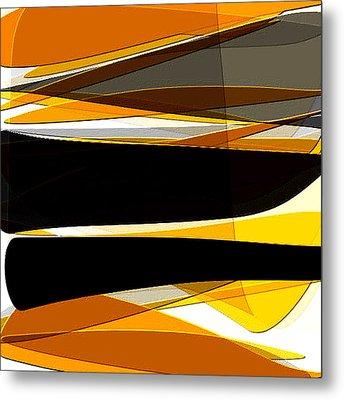 Bold- Yellow Orange Black And Gray Art Metal Print by Lourry Legarde