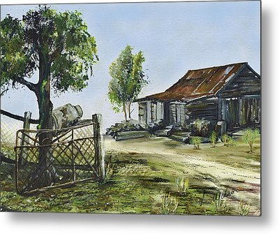 Bollier Shed And Gate Metal Print by Lynne Wilson