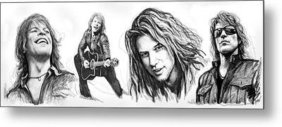 Bon Jovi Art Drawing Sktech Poster Metal Print by Kim Wang