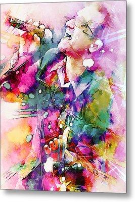 Bono Singing Metal Print by Rosalina Atanasova
