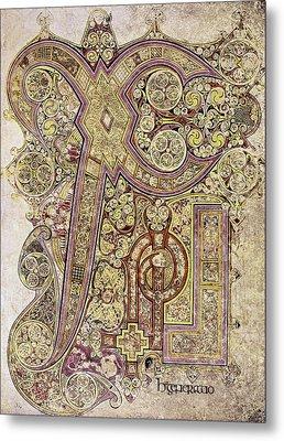 Book Of Kells Christ Page Metal Print by Granger