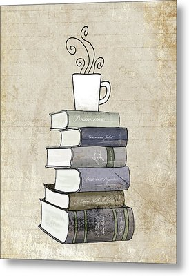 Books And Coffee Print Metal Print by Amy Cummings