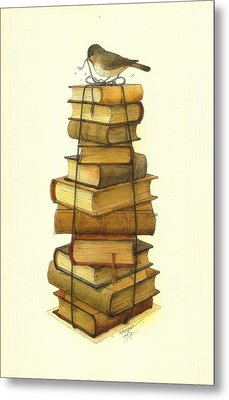 Books And Little Bird Metal Print by Kestutis Kasparavicius