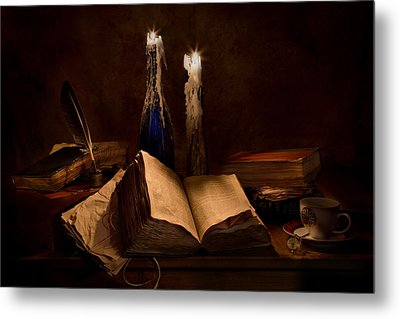 Books Candles And Coffee Cup Metal Print by Mary Tomaino