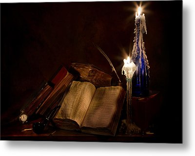 Books Candles And Proverbs Metal Print by Mary Tomaino
