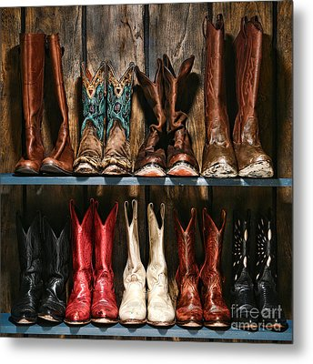 Boot Rack Metal Print by Olivier Le Queinec