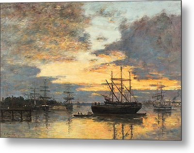 Bordeaux In The Harbor Metal Print by Eugene Louis Boudin