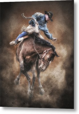 Born To Buck Live To Ride Metal Print by Ron  McGinnis