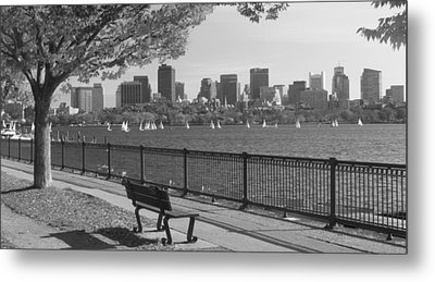 Boston Charles River Black And White  Metal Print by John Burk