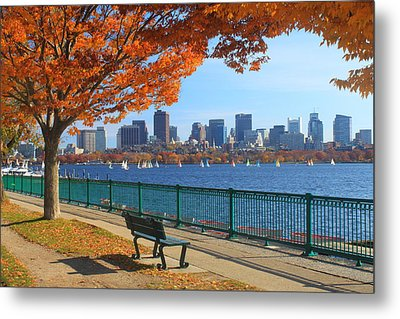 Boston Charles River In Autumn Metal Print by John Burk