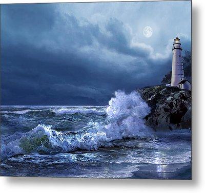 Boston Harbor Lighthouse Moonlight Scene Metal Print by Regina Femrite