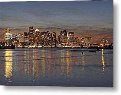 Boston Harbor Skyline Reflection Metal Print by Juergen Roth