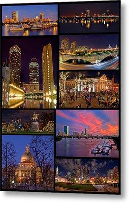 Boston Nights Collage Metal Print by Joann Vitali