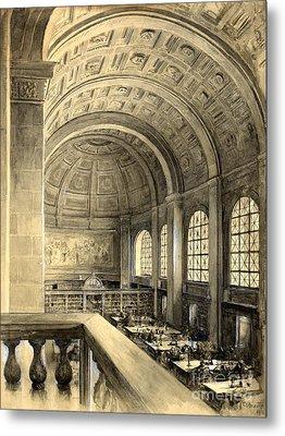 Boston Public Library Bates Hall 1896 Metal Print by Padre Art