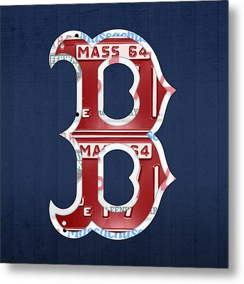 Boston Red Sox Logo Letter B Baseball Team Vintage License Plate Art Metal Print by Design Turnpike