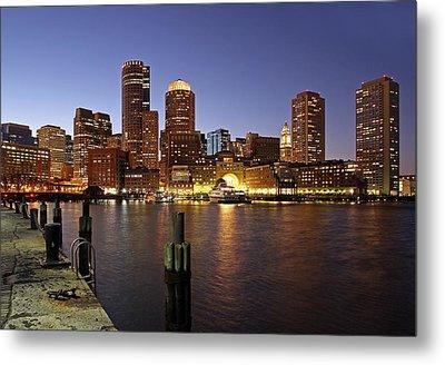 Boston Skyline And Fan Pier Metal Print by Juergen Roth