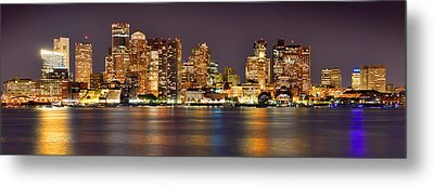 Boston Skyline At Night Panorama Metal Print by Jon Holiday
