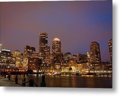 Boston Skyline Blue Hour Metal Print by Stewart Mellentine