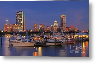 Boston Skyline In Blue And Gold Metal Print by Joann Vitali