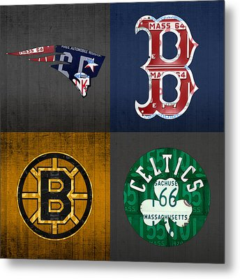Boston Sports Fan Recycled Vintage Massachusetts License Plate Art Patriots Red Sox Bruins Celtics Metal Print by Design Turnpike