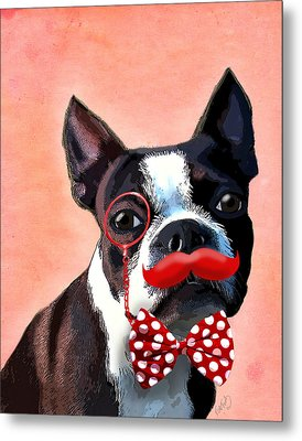 Boston Terrier Small Red Moustache Metal Print by Kelly McLaughlan