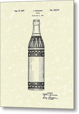 Bottle 1937 Patent Art Metal Print by Prior Art Design