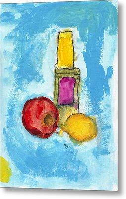 Bottle Apple And Lemon Metal Print by Skip Nall