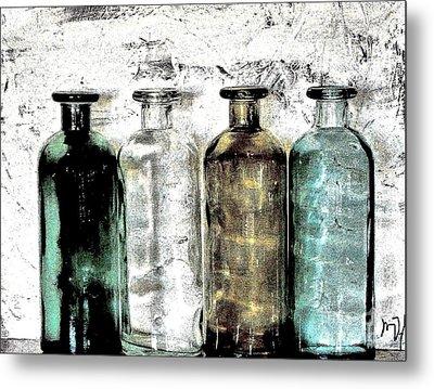 Bottles Against The Wall Metal Print by Marsha Heiken