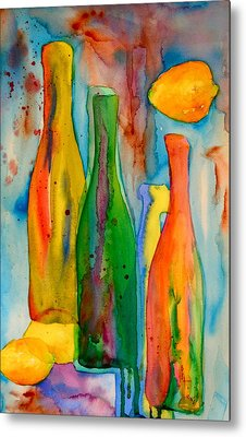Bottles And Lemons Metal Print by Beverley Harper Tinsley