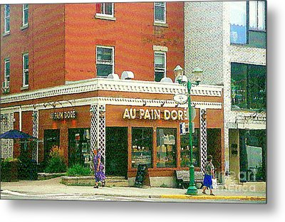 Boulangerie Au Pain Dore Corner Store Paintings French Bakery Shops  Montreal Depanneur Art Cspandau Metal Print by Carole Spandau