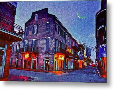 Bourbon Street - Crescent Moon Over The Crescent City Metal Print by Bill Cannon
