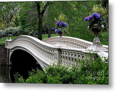 Bow Bridge Flower Pots - Central Park N Y C Metal Print by Christiane Schulze Art And Photography
